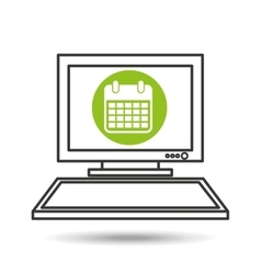 pc device network calendar media icon vector image