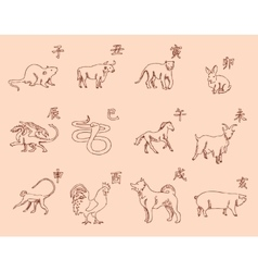 12 animals of the chinese zodiac calendar the vector