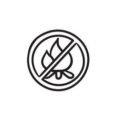 No fire sign sketch icon vector