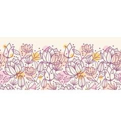 Purple line art flowers horizontal seamless vector image