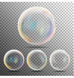 Realistic soap bubbles with rainbow reflection set vector