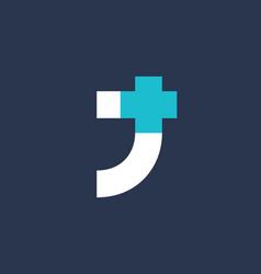 letter j cross plus logo icon design template vector image