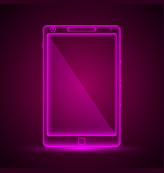 Neon tablet emblem vector