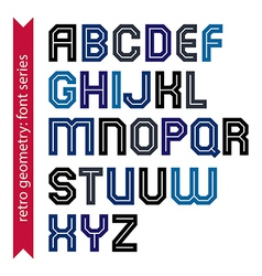 Double lines geometric font colorful uppercase vector