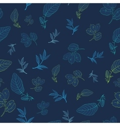 Dark Blue Drawing Leaves Branches Seamless vector image