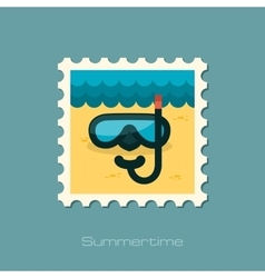 Diving mask flat stamp vector