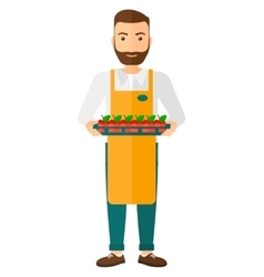 Smiling supermarket worker vector