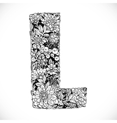Doodles font from ornamental flowers - letter l vector