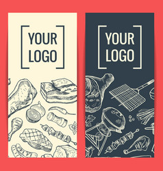 banner or flyer templates with hand drawn vector image vector image