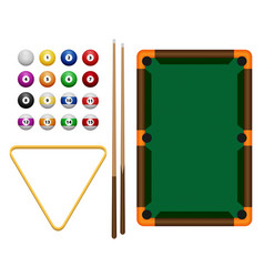 Billiards flat billiards pool game accessories vector