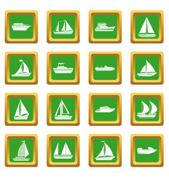 Boat and ship icons set green vector