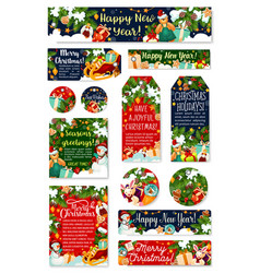 Christmas tag new year holidays celebration card vector