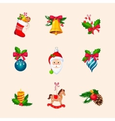 Christmas Tree Decorations Bright Icon Set vector image vector image