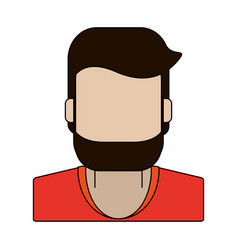 Color graphic faceless half body man with beard vector
