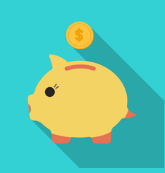Donation piggybank icon in flate style isolated on vector