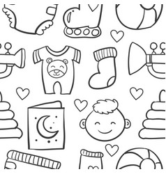 doodle of baby object set design vector image