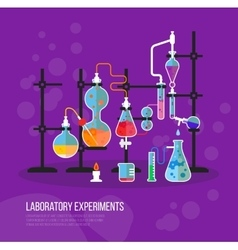 Experiment chemistry glassware flask with tubes vector