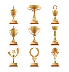Golden trophy collections sports award vector