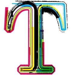 Grunge colorful font Letter T vector image