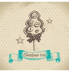 Hand drawn Christmas tree design vector image vector image