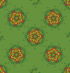 Hand-drawn colored mandala zentangl seamless vector image