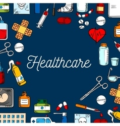 Healthcare and medicine sketched background vector