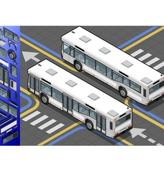 Isometric bus in rear view vector