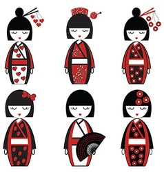 japanese dolld set in black and red vector image