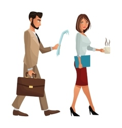 Man and woman walking office work documents folder vector