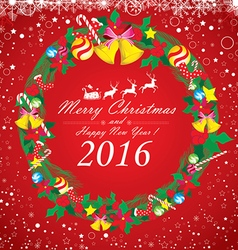 Merry Christmas and Happy New Year 2016 Santa vector image vector image