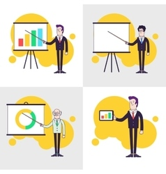 Modern businessmen set flipchart with colored bar vector