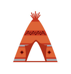 Native american indian tipi home with tribal vector
