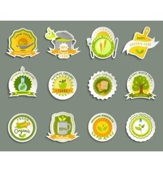Natural organic food brands stickers set vector image vector image