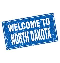North dakota blue square grunge welcome to stamp vector