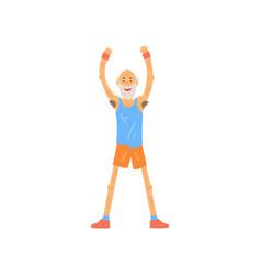 Old man raising his hands up bearded elderly vector