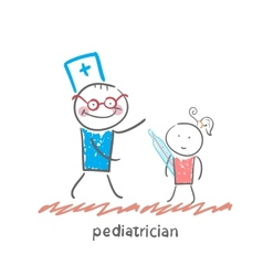 pediatrician checks the childs temperature vector image vector image