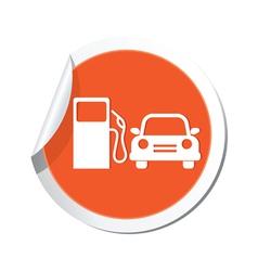 petrol station AND car ORANGE LABEL vector image vector image