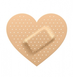 plaster in shape of heart vector image vector image