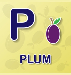 Plum alphabet background vector