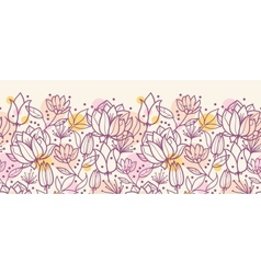 Purple line art flowers horizontal seamless vector image