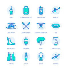 rafting kayaking flat line icons vector image