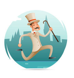 Running gentleman happy victorian hurry wealthy vector