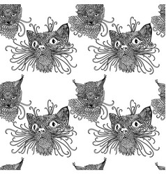 Seamless pattern with cute kats cat background in vector