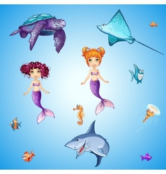 Set of cartoon underwater inhabitants mermaids vector