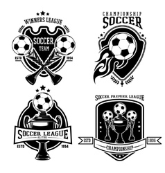 Soccer Black Badges Set vector image
