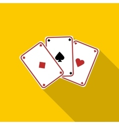 Three aces playing cards icon flat style vector image