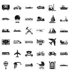 Transport icons set simple style vector