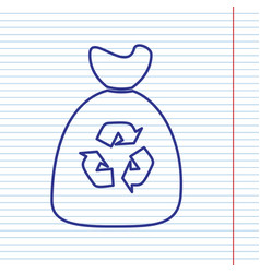 Trash bag icon navy line icon on notebook vector