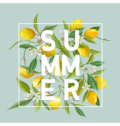 Tropical flowers and leaves background summer vector