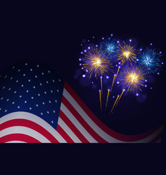 United states flag and golden blue fireworks vector